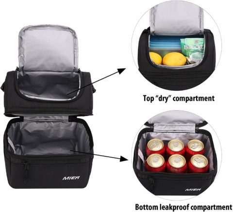 This 2-compartment leakproof lunch bag keeps dry foods separate from liquids or ones that might leak!