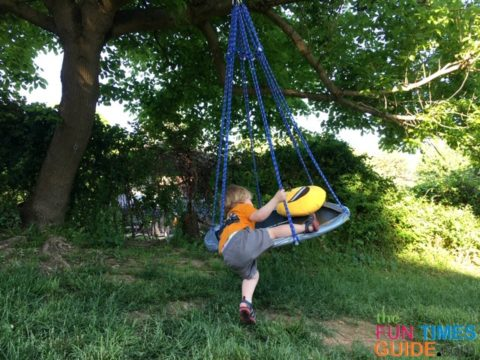 I set out to build a low-lying saucer swing that my 2-year-old son could easily climb onto himself.