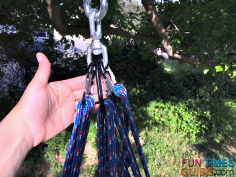 This DIY tree swing uses 3 carabiners for every 2 ropes.