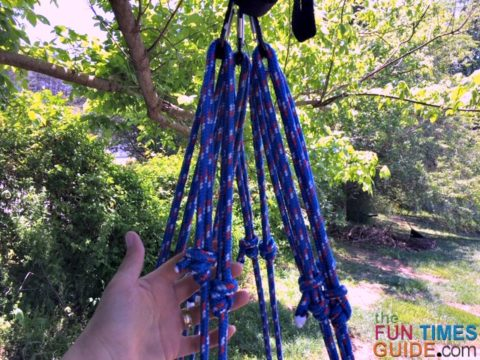 This is what it looked like after I attached the 6 ropes with 3 carabiners (2 ropes per carabiner) to the bottom side of the swivel hook.