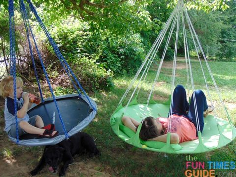 My son and I spend lots of time on our 2 hanging hammock swings! (They're both hung from the same tree limb in our yard.)