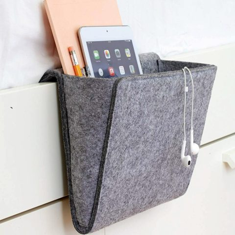 A softly cushioned bedside caddy for all your gadgets... and snacks!