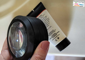 Here, you can see what the text looks like on a makeup bottle without magnification.