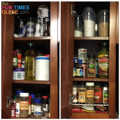 These are before and after photos of my spice cabinet.