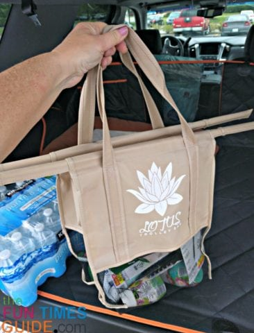 This Lotus bag ha a mesh bottom, so it's even more lightweight and flexible than the other 3 bags in the set.