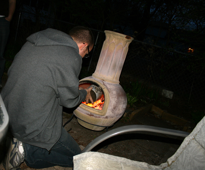 how to put out a fire in a chiminea