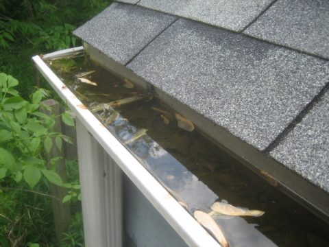 A clogged gutter can be prevented by using gutter guards.