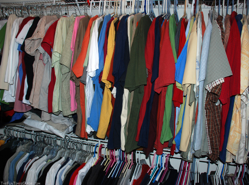 Closet With 2 Types Of Plastic Hangers