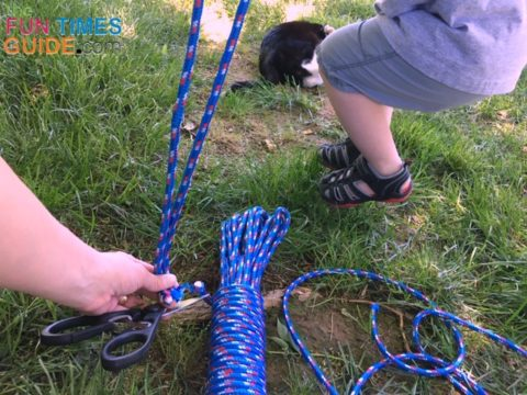 Cutting 6 rope lengths at approximately 14 feet long each.