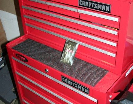 Our Craftsman toolboxes. One stacked on top of the other -- with the tiny set of wrenches shown here.
