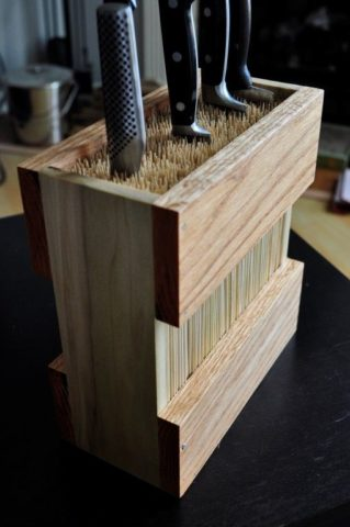 This is the bamboo utensil holder that I modeled mine after.