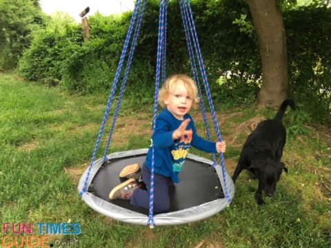 This is a great DIY tree swing for kids... but adults would appreciate a bigger one.