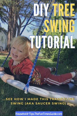 DIY tree swing tutorial - see how I made this trampoline swing.