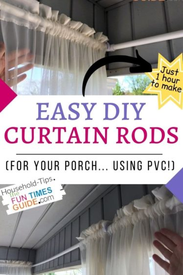 See how I made these easy DIY outdoor curtain rods in just 1 hour... and cost less than $15 to make!