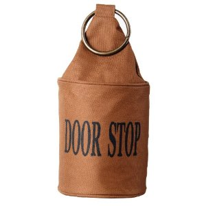 A small, fabric door stop that won't damage your hardwood floors.