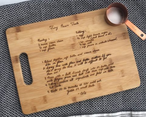 A custom cutting board personalized with your favorite recipe and personal notes!