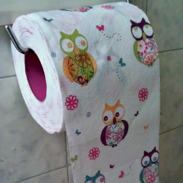 Funny wise owl toilet paper that's hanging the CORRECT toilet paper roll direction!