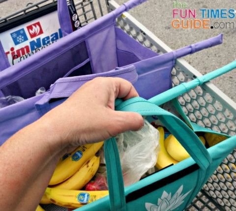 It's easy to grab each of these large sized bags by the handle to move it from the cart to your car.
