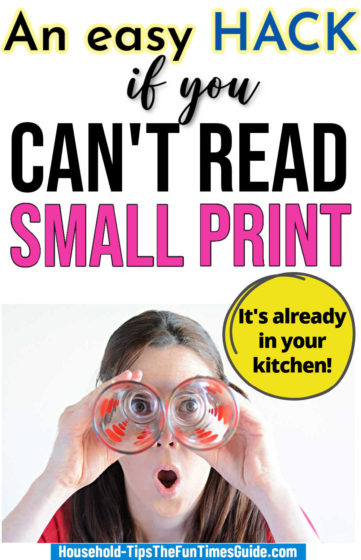 Here's an easy hack if you can't read small print (using something already in your kitchen).