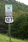 Highway 127 sign near Dunlap, Tennessee -- this is the CORRECT road that the 'World's Longest Yard Sale' in on!