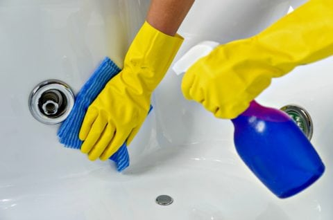 Using a jetted tub cleaner to clean air jets