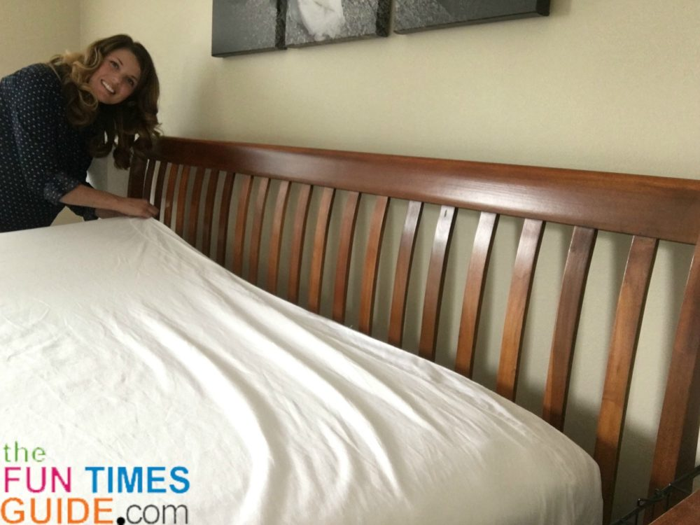 how to do triple sheeting to make the bed like hotels do - step 2