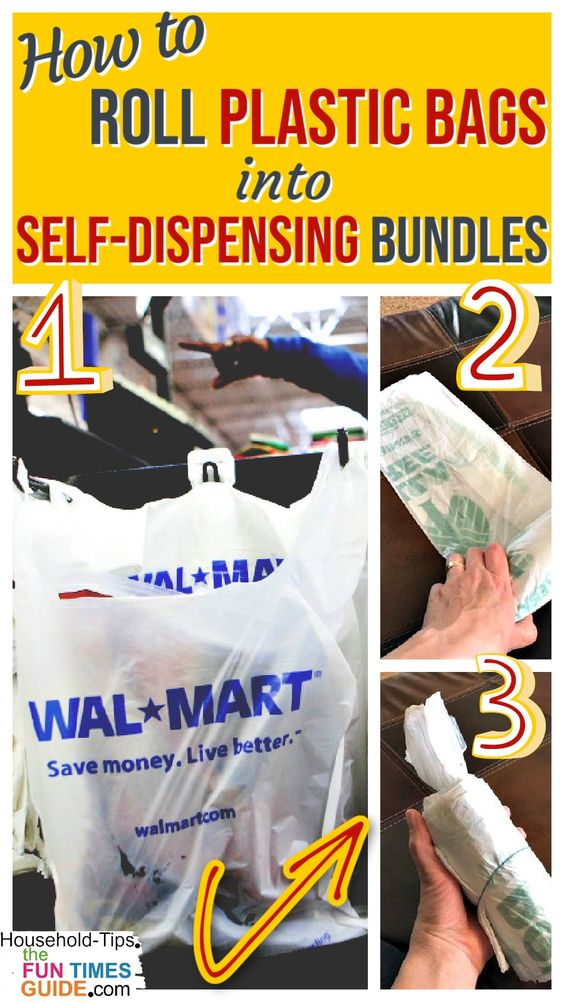 How To Roll Plastic Bags Into Small, Self-Dispensing Bundles + 10 Clever Uses For Plastic Shopping Bags