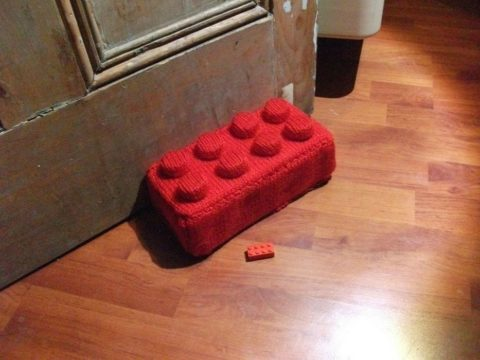 See the tutorial for this DIY brick Lego doorstopper on Instructables.