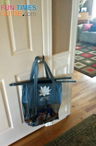 When I get home from shopping, with the bags loaded, I hang the bag filled with stuff that goes in the pantry on the pantry door -- until I finish putting cold items from the insulated bag into the fridge first.