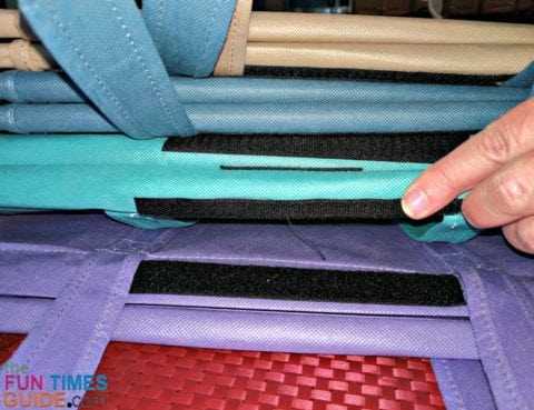 A closeup of the very thick and durable velcro that keeps the Lotus Trolley Bags together during storage.
