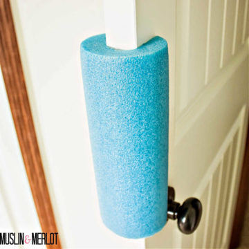 A simple pool noodle can be used as an easy makeshift door stopper!