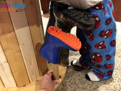 This DIY boot rack fits adult shoes and boots, as well as kids shoes and boots.