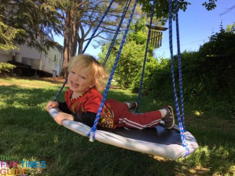 As you can see, my son absolutely LOVES his new trampoline swing!