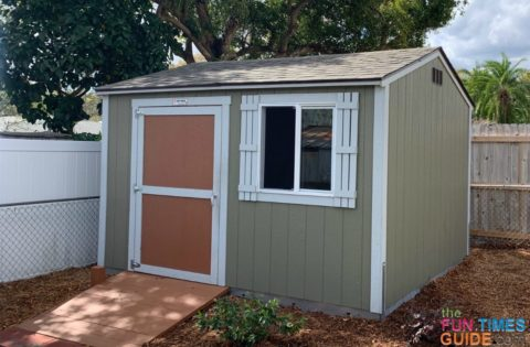 The new wood Tuff Shed looks great in my yard!