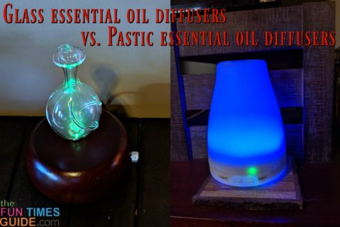 See side by side, point by point comparisons of glass essential oil diffusers vs. plastic essential oil diffusers.