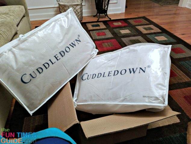 Both down pillows from Cuddledown arrived in one box -- each pillow was individually packaged inside the box.