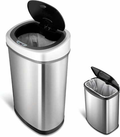 A set of 2 no-touch automatic trash cans!