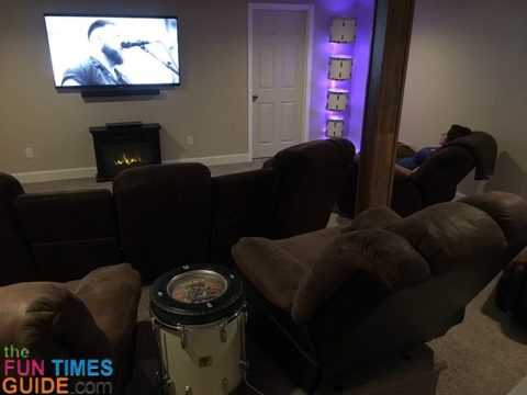 Here I am enjoying our theater room with the drum lights and TV on.
