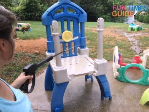 I used our power washer to clean this kids outdoor play set.