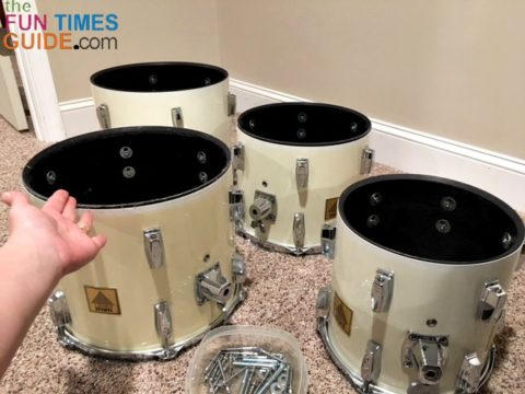 I removed the bottom heads of each drum using the drum key.