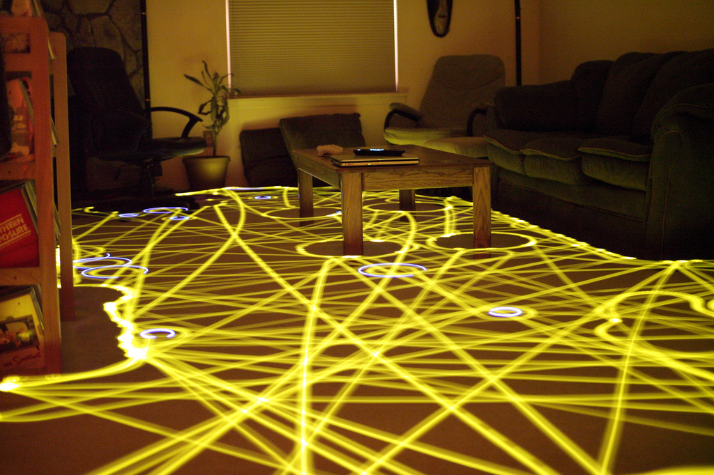 A 45-minute time lapse of the Roomba robotic vacuum cleaning path.