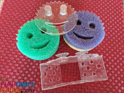 The Scrub Daddy sponge holder is a suction cup smiley face sponge caddy