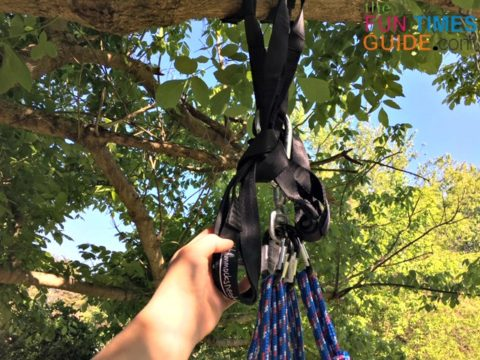 This is how I secured the extra length of the hammock straps out of the way.