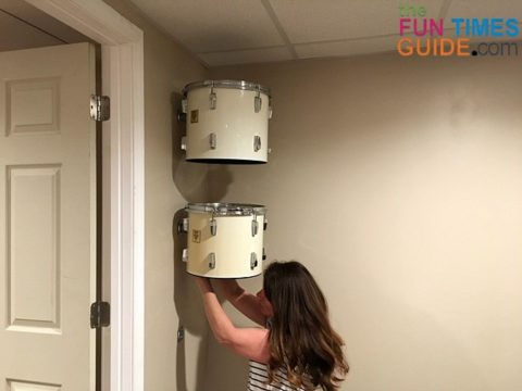 Two drums secured on the wall...