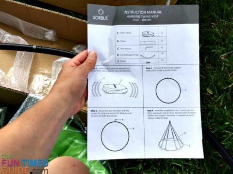 Easy to read instructions for the Sorbus hammock swing chair.