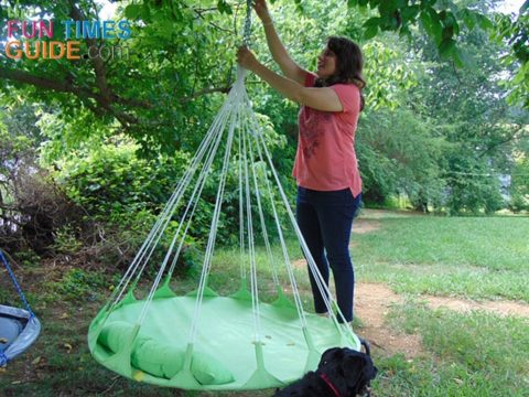 The Sorbus hammock swing is really easy for just one person to hang!