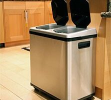 Stainless Steel Touchless Trash Can With 2 Compartments Makes Recycling Even Easier