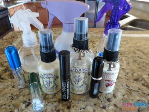 my collection of storebought and homemade poo pourri toilet sprays