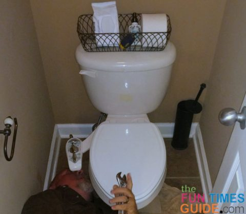 My husband installed this DIY toilet bidet attachment on our master bathroom toilet.
