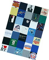 A cool T-shirt quilt made from old T-shirts.